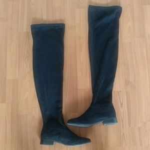 London Rebel over the knee black boots EUC